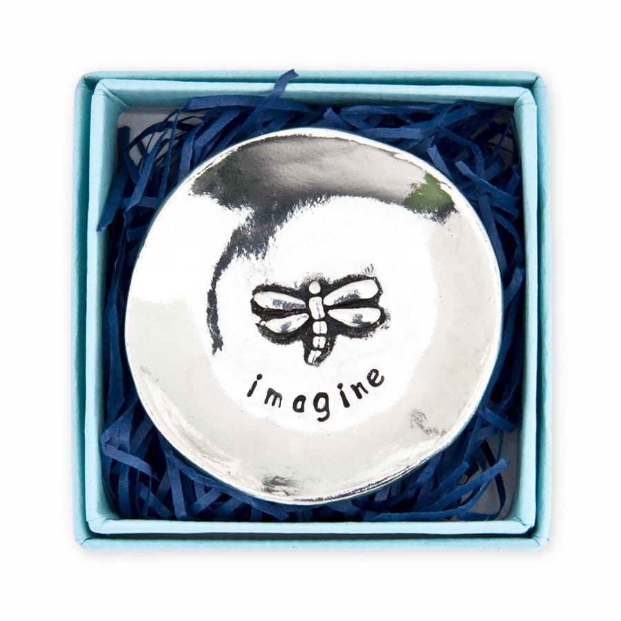 """Imagine"" Dragonfly Pewter Charm Bowl -Small"