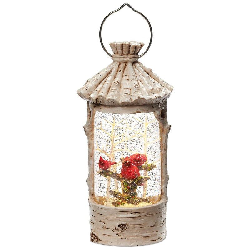 Birch Cardinals Birdhouse with Perpetual Snow | Putti Christmas