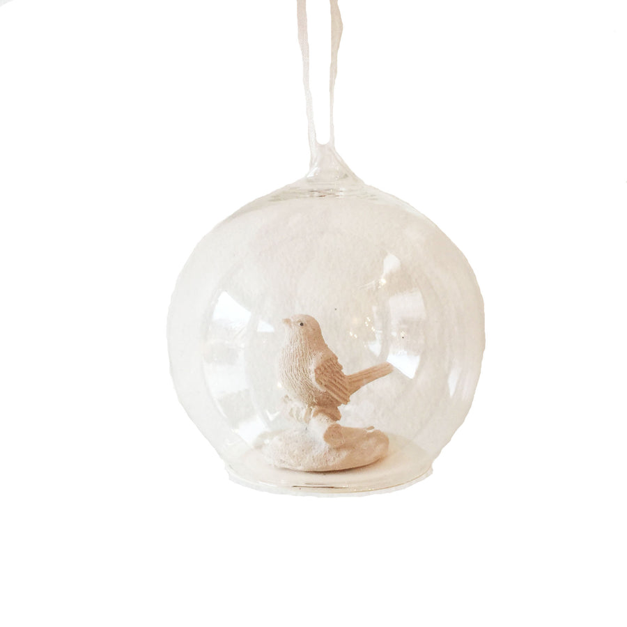 Bird in Glass Ball Ornament