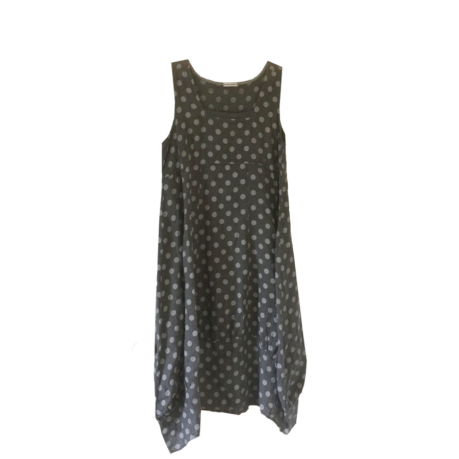 Sleeveless Linen Dress - Grey Spots on Charcoal, TO-Terminal One, Putti Fine Furnishings