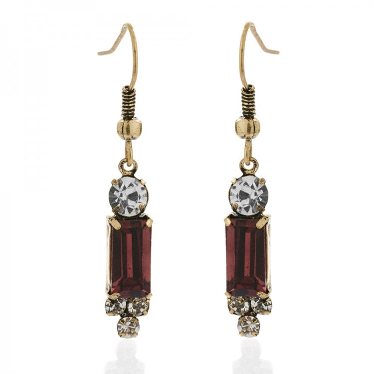 Lovett & Co. Milk Stone Earrings - Burgundy