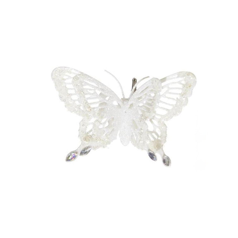 Glittered Butterfly - White