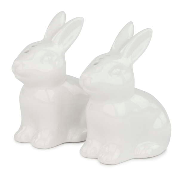 White Ceramic Bunny Salt and Pepper