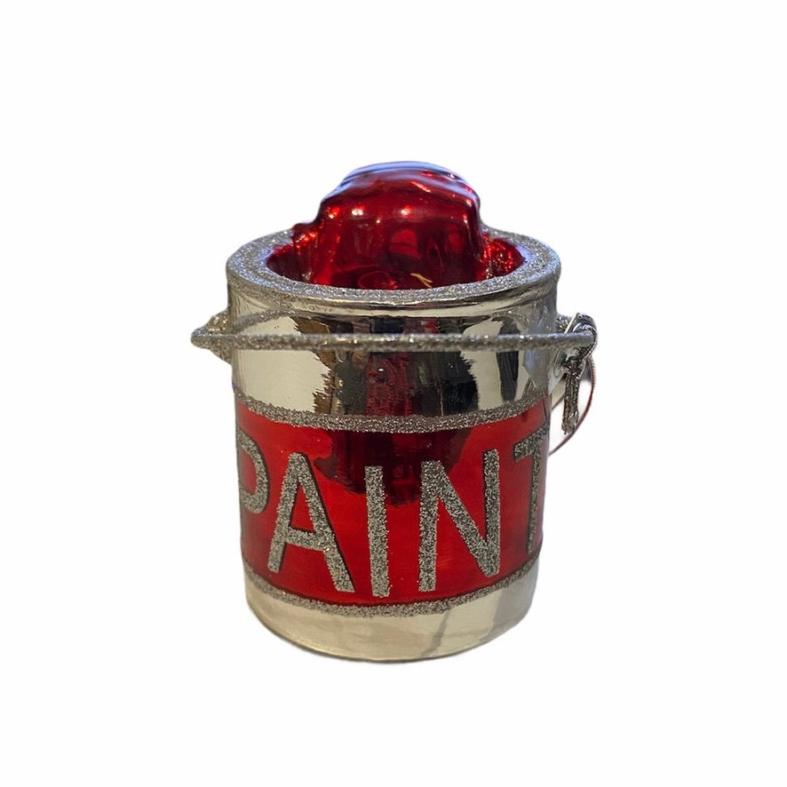 Kurt Adler Red Paint Can Glass Ornament | Putti Christmas Decorations