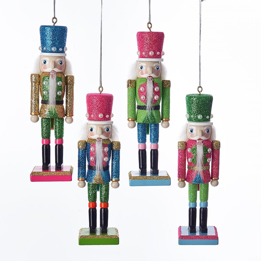 Kurt Adler Bright Color Nutcracker Ornaments With Pearls