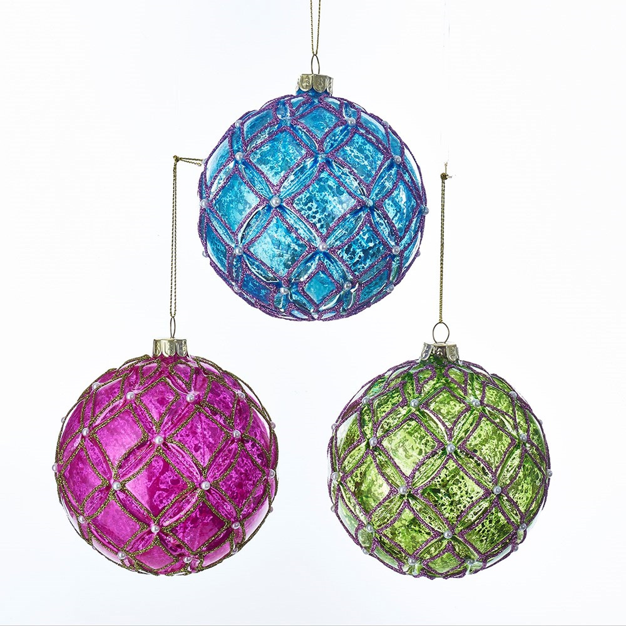 Kurt Adler Brights Glass Ball with Pearl Ornament