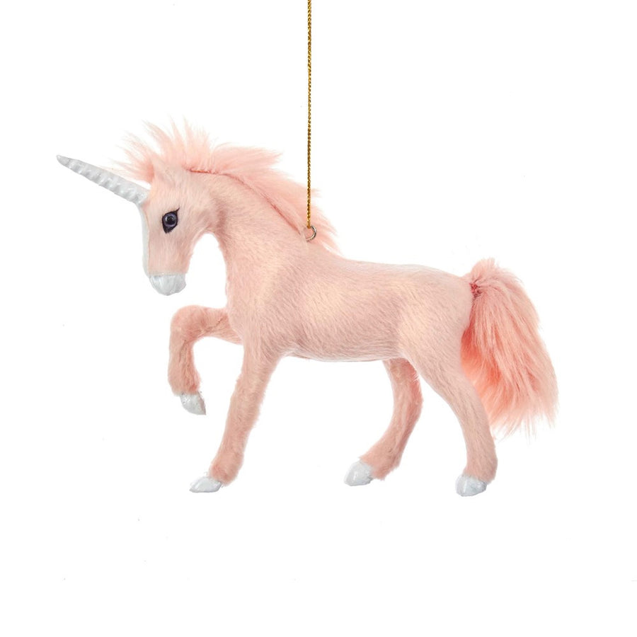 Kurt Adler Furry Pink Unicorn Ornament | Putti Christmas