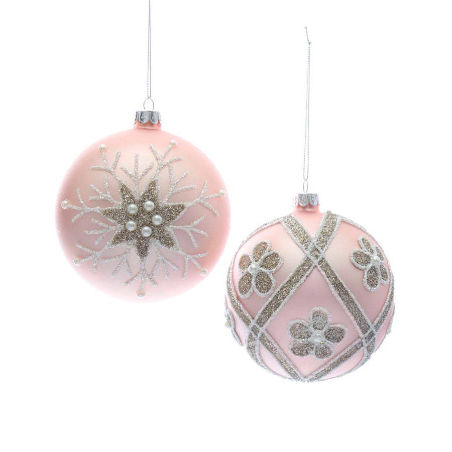 Kurt Adler Pink Glass Ball Ornaments | Putti Christmas