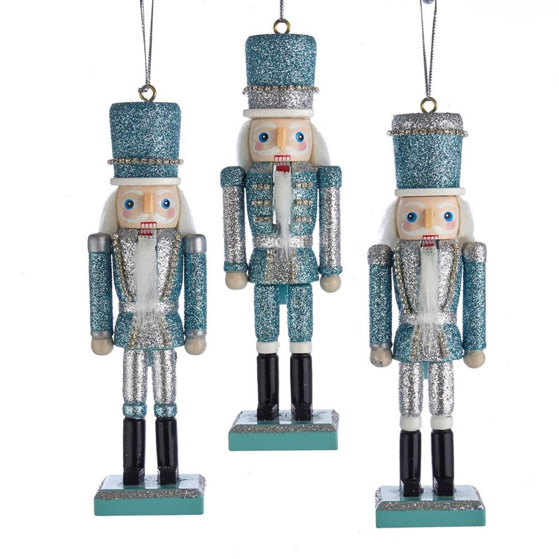 Kurt Adler Silver and Tiffany Blue Nutcracker Ornaments | Putti Christmas