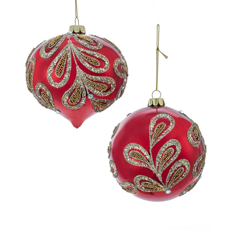 Kurt Adler Ruby Red and Platinum Glass Onion Ornaments | Putti Christmas
