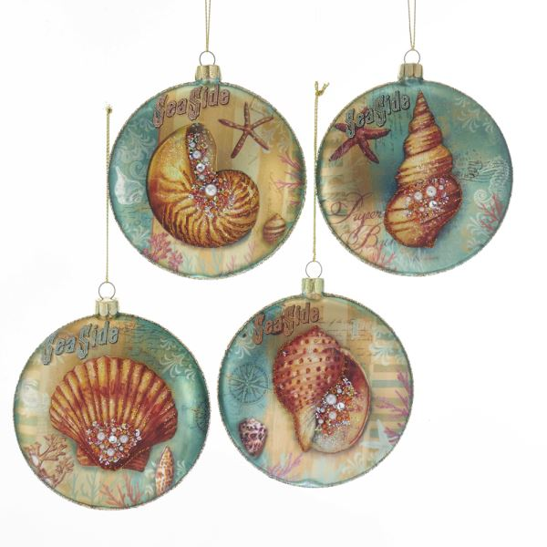 Kurt Adler Glass Seashell Disc Ornaments