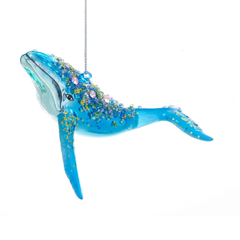 Kurt Adler Turquoise Whale Glass Ornament  | Putti Christmas Decorations