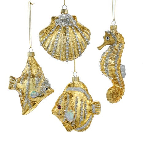 Kurt Adler Seahorse, Shell and Fish Ornaments