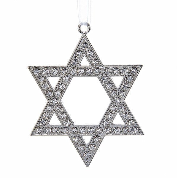 Silver metal Jewelled Star of David Ornament