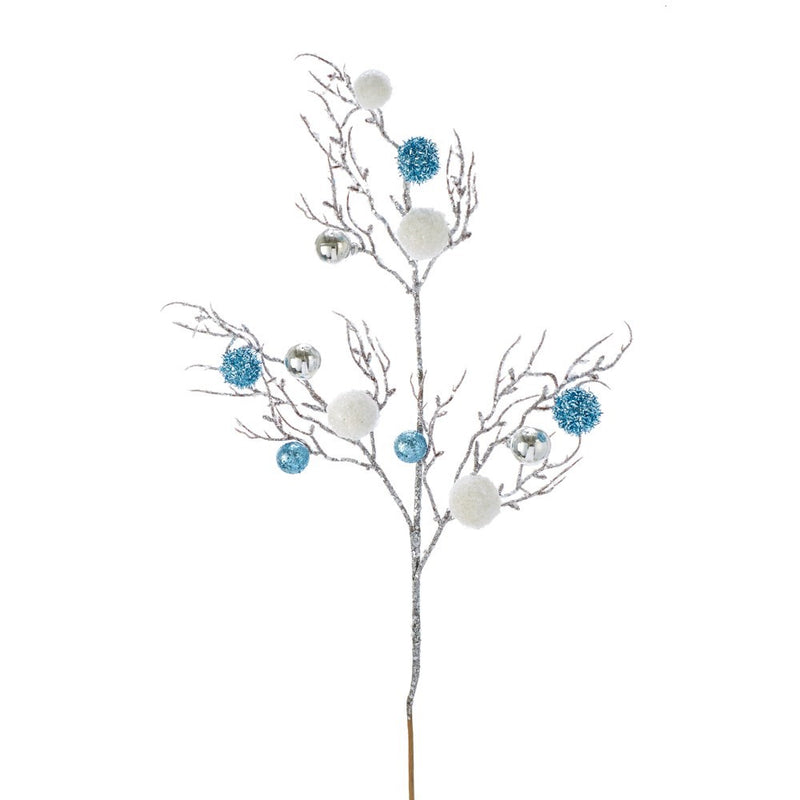 Kurt Adler Silver and Tiffany Blue Tinsel Ball Spray | Putti Christmas