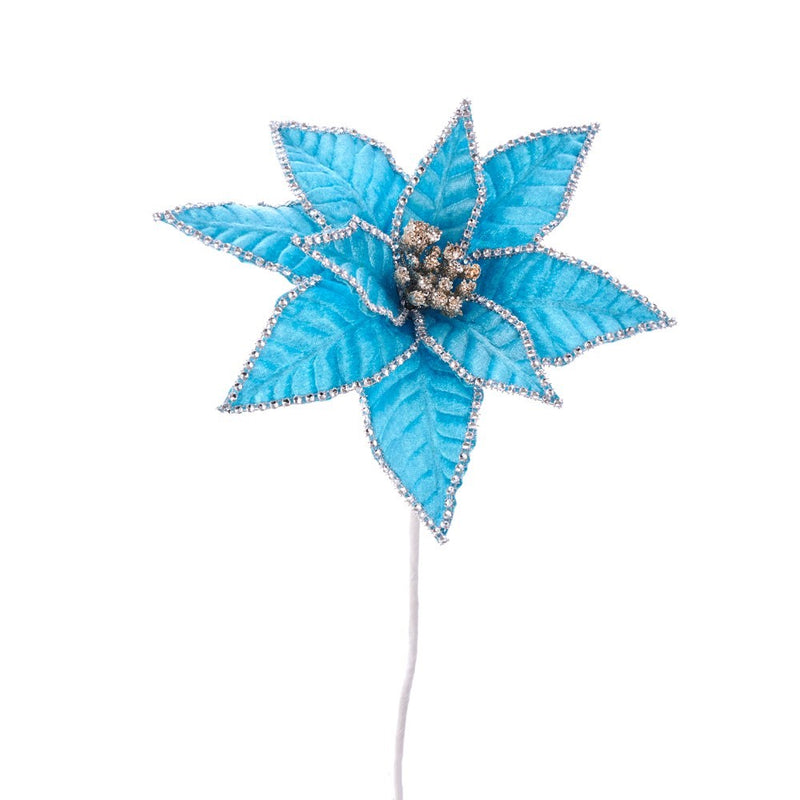 Kurt Adler Blue with Rhinestone Edge Poinsettia Pick | Putti Christmas