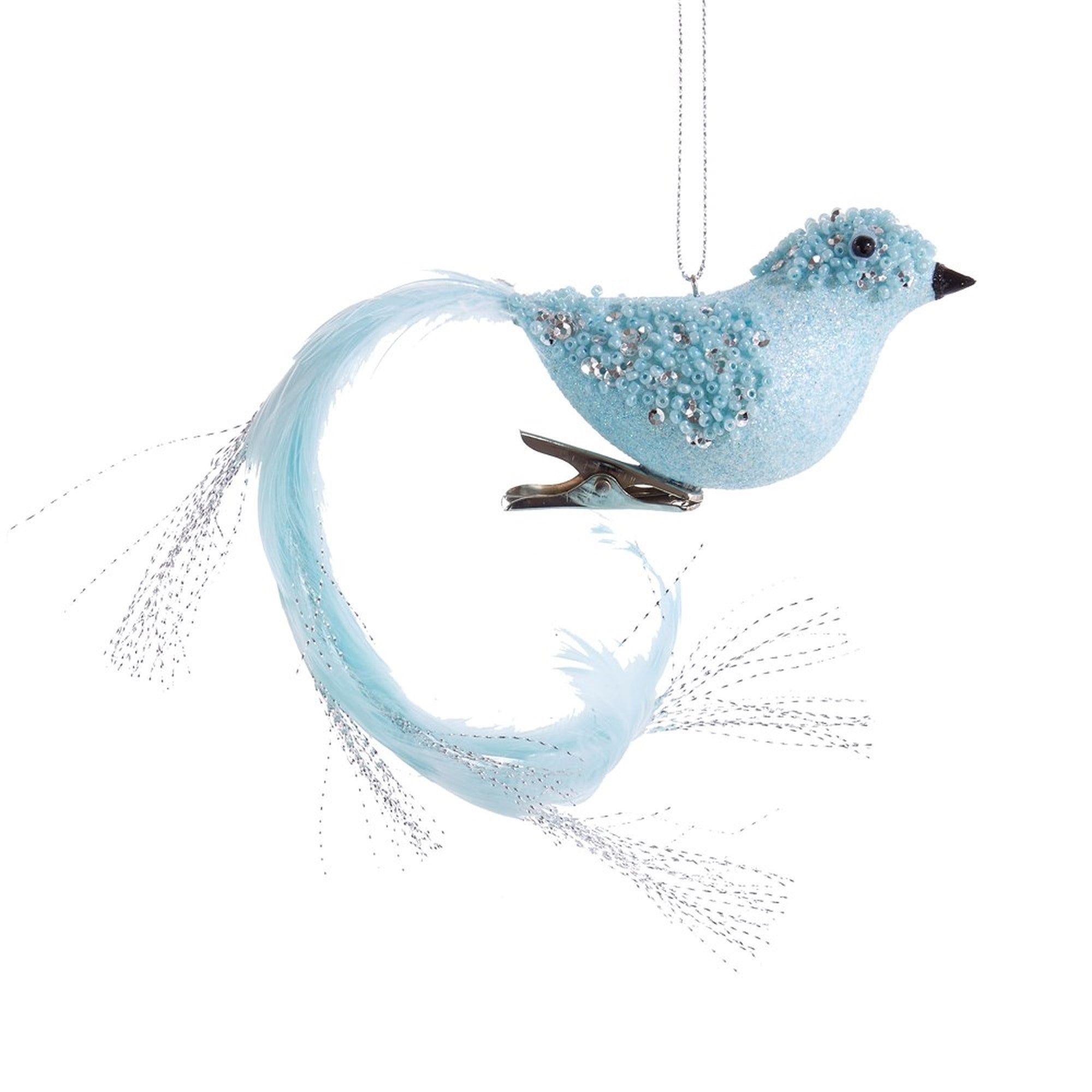 Kurt Adler Tiffany Blue with Silver Bird  | Putti Christmas