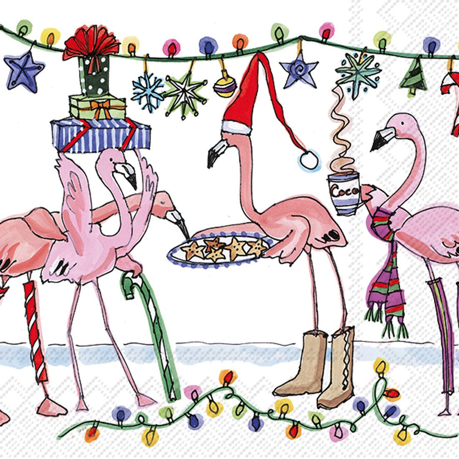 Winter Flamingo Cocktail Napkin