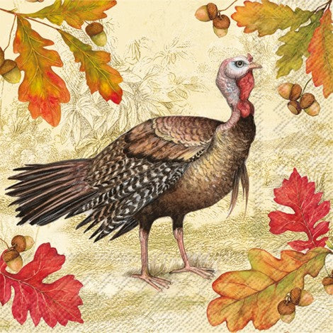 Turkey Acorn Paper Napkin - Cocktail | Putti Thanksgiving Celebrations