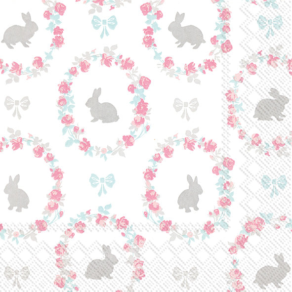 Lovely Little Roses Bunny Paper Napkin - Cocktail