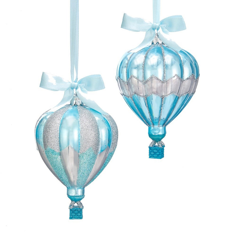 Kurt Adler Matte Tiffany Blue and Silver Hot Air Balloon Ornaments | Putti