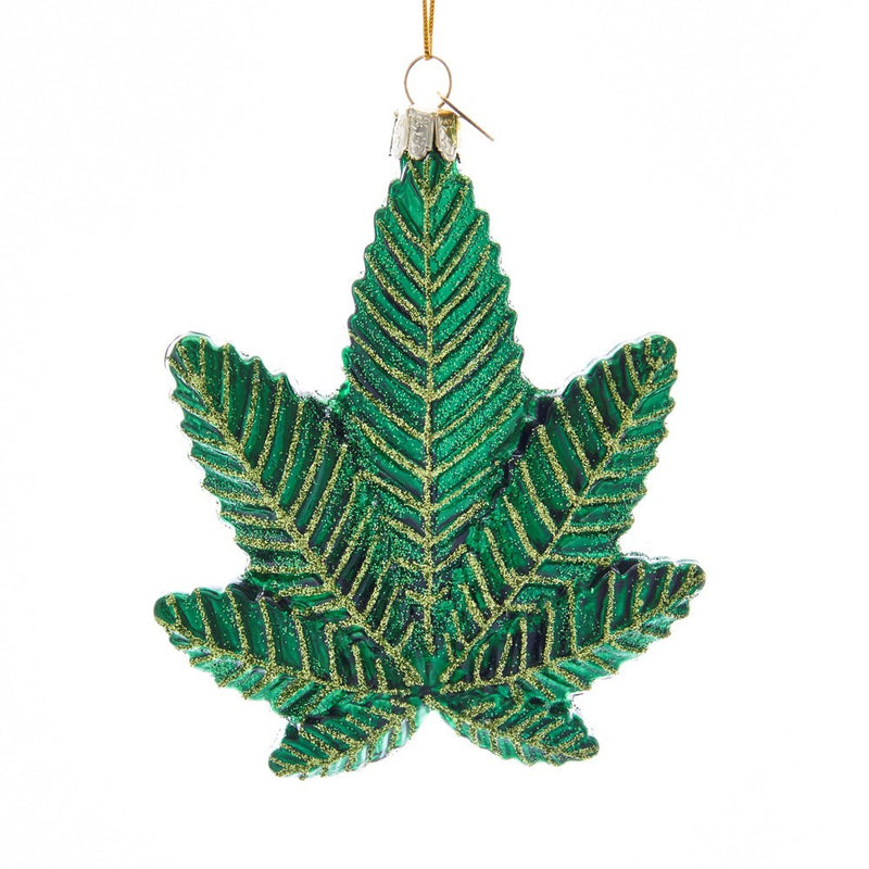 Kurt Adler Cannabis Leaf Glass Ornament | Putti Christmas Canada