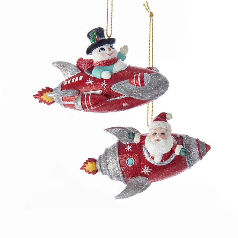 Kurt Adler Santa and Snowman In Rocket Ornaments | Putti Christmas
