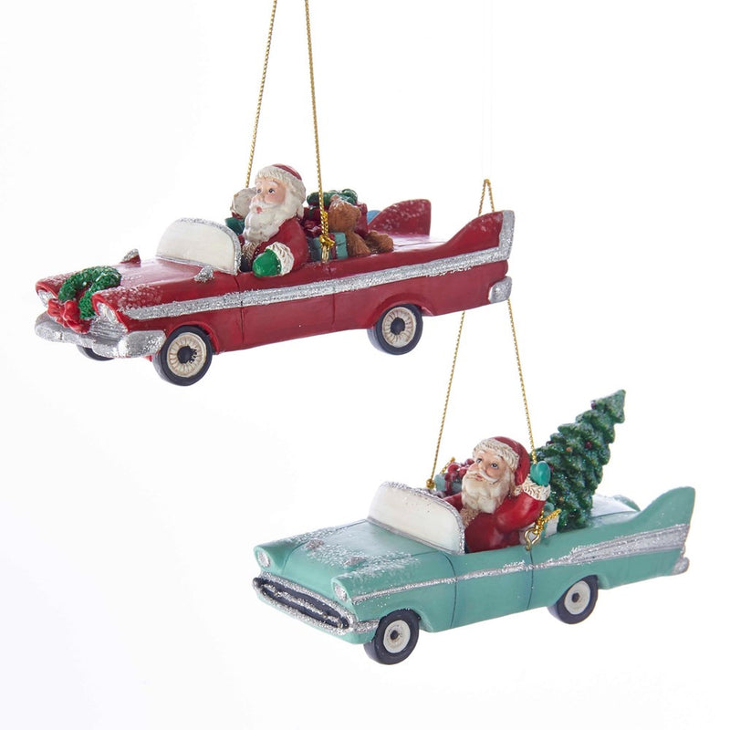 Kurt Adler Early Mid Century Santa In Retro Car Ornaments - Putti Christmas