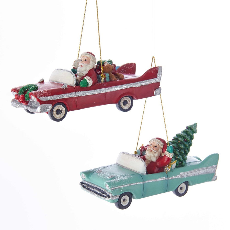 Kurt Adler Early Mid Century Santa In Retro Car Ornament