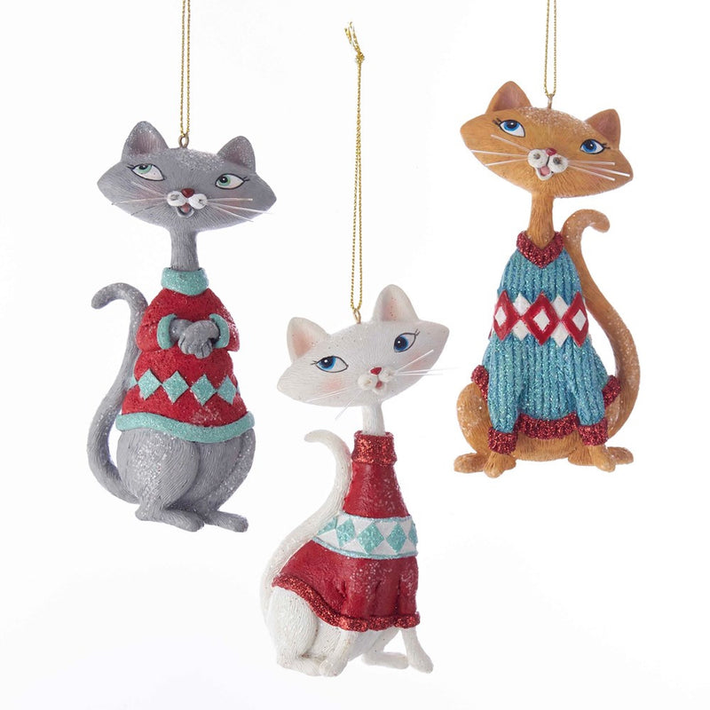 Kurt Adler Retro Style Cat Ornament - Putti Christmas Canada