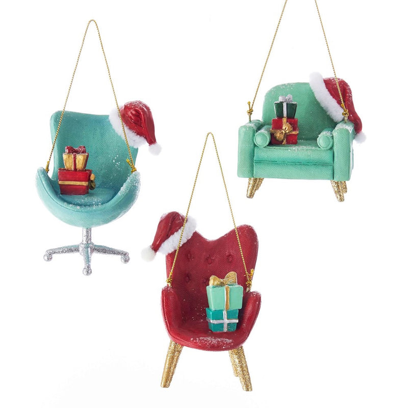 Kurt Adler Retro Mid Century Style Chair Ornaments