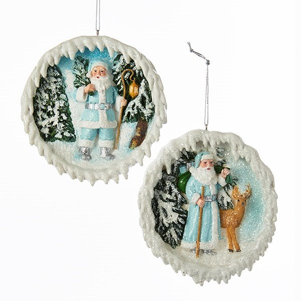 Icy Blue Santa Ornaments  | Putti Christmas Decorations