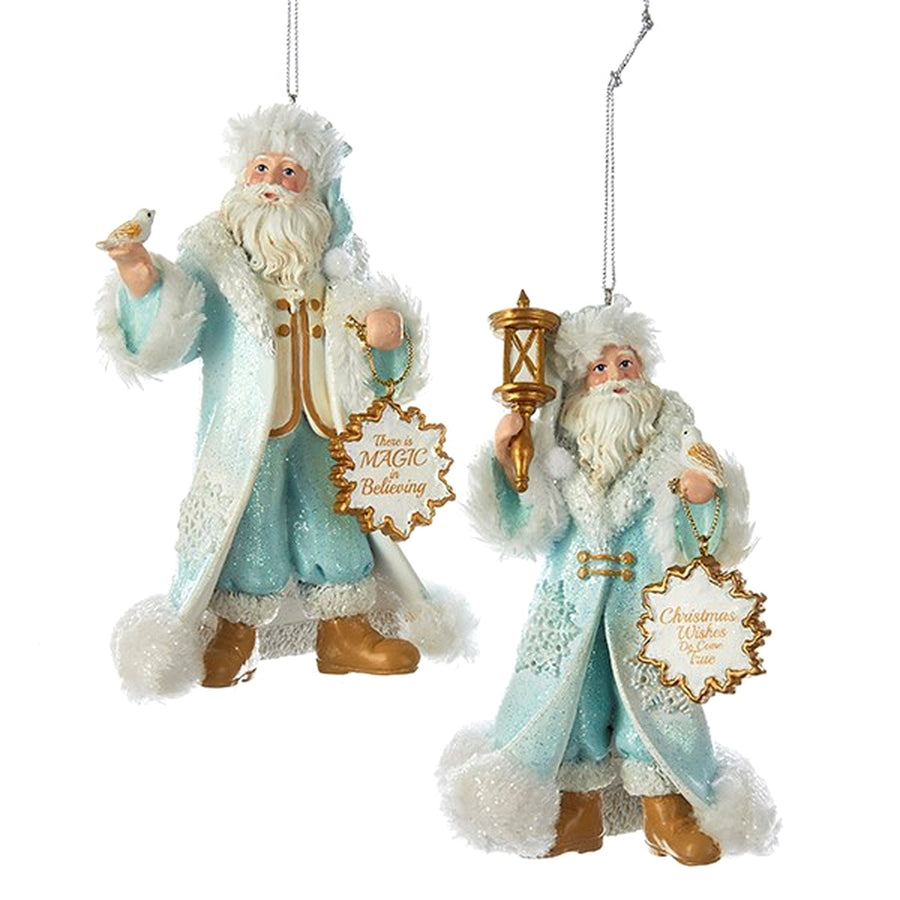 Kurt Adler Icy Blue Santa With Bird and Lantern Ornaments