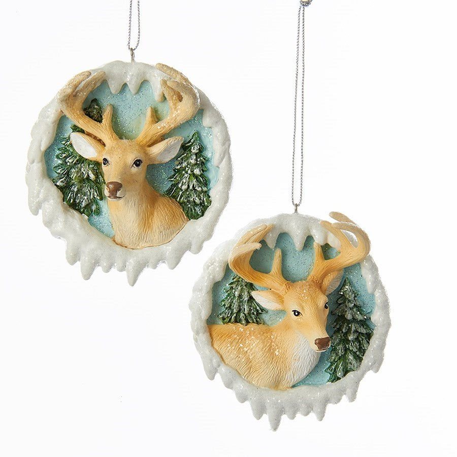 Kurt Adler Icy Blue Deer Head Ornament | Putti Christmas