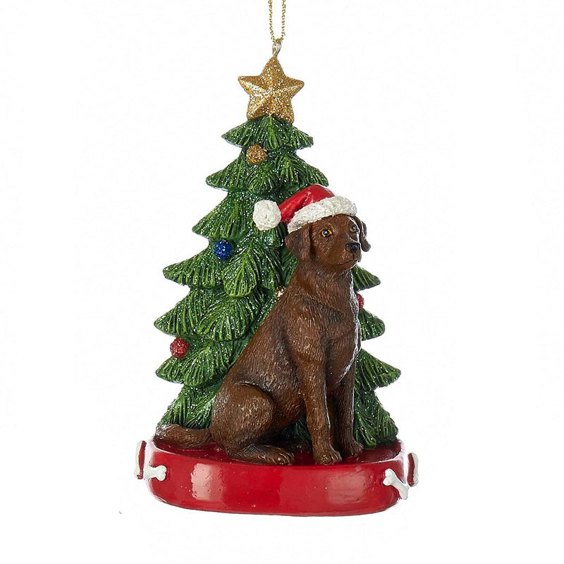 Kurt Adler Brown Labrador with Tree Ornament | Putti Christmas Decorations