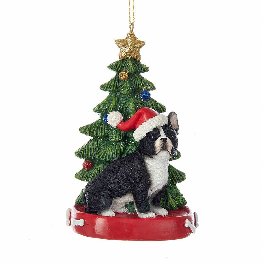 Kurt Adler French Bulldog with Tree Ornament