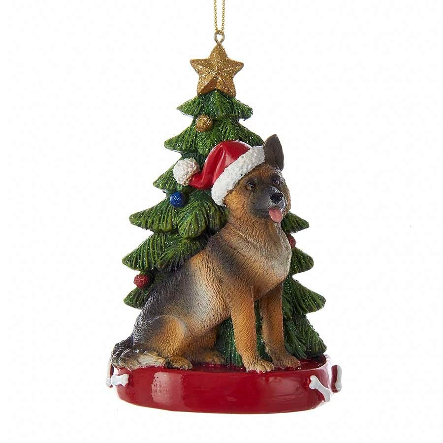 Kurt Adler German Shepherd with Tree Ornament | Putti Christmas Decorations