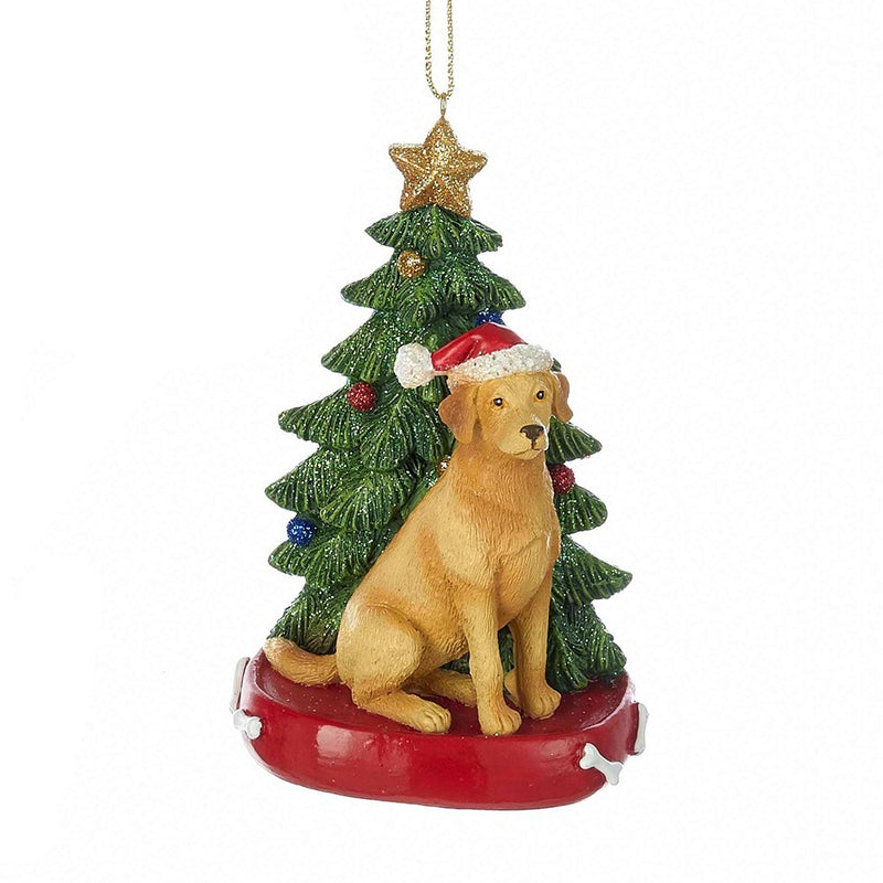Kurt Adler Yellow Labrador with Tree Ornament