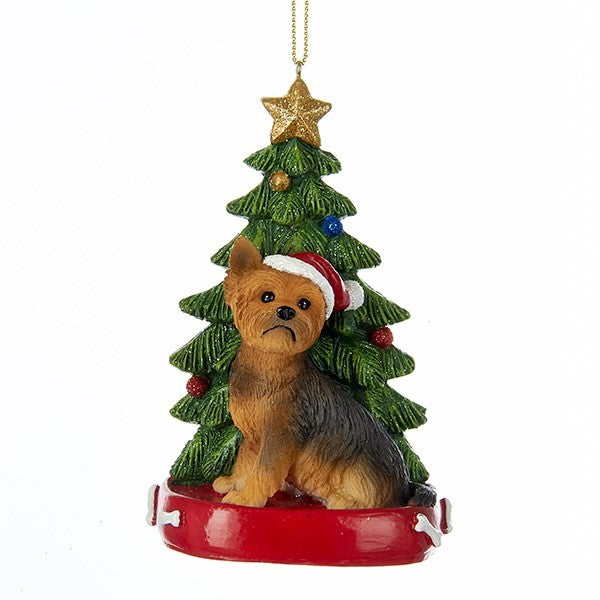 Kurt Adler Yorkshire Terrier with Tree Ornament