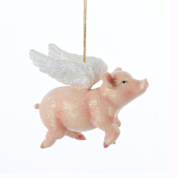 Kurt Adler Pink Flying Pig Ornament | Putti Christmas Canada