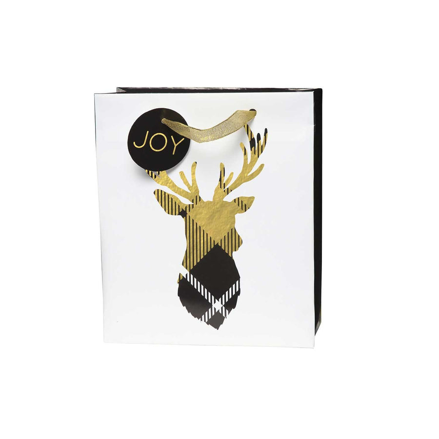 Embellished Gift Bag - Gold Plaid Stag