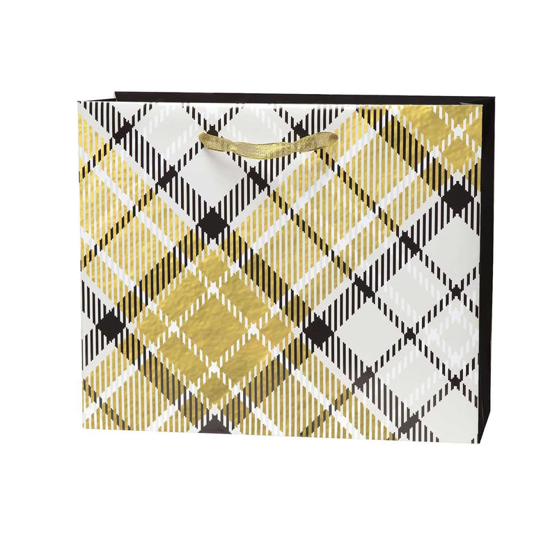 Large Embellished Gift Bag - Gold Plaid