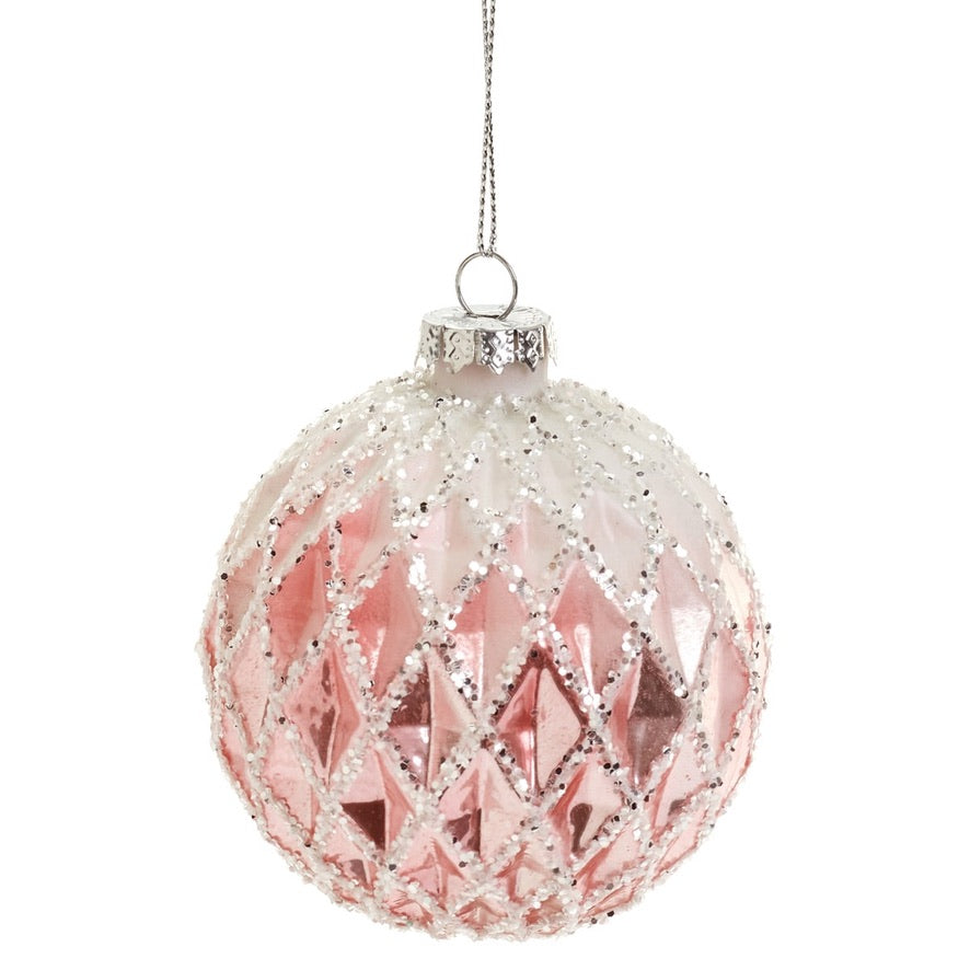 Pink Honeycomb Glass Ball Ornament | Putti Christmas Decorations