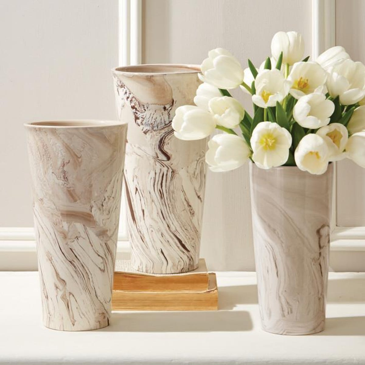 Tozai Tapered Marbleized Vases, TH-Tozai Home, Putti Fine Furnishings