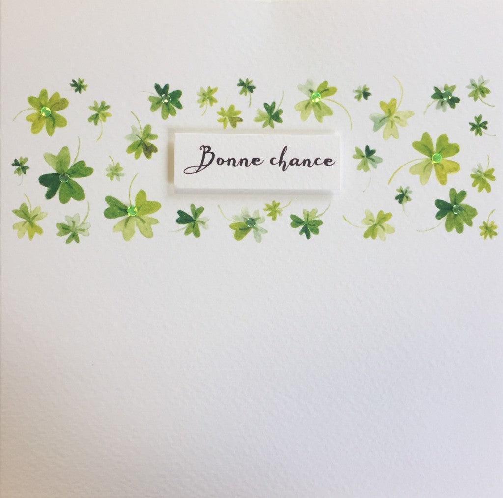 Bonne Chance Shamrock Band Greeting Card