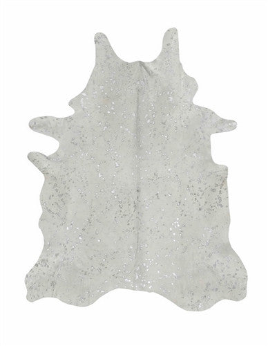 White & Silver Cowhide Carpet-Cowhide Carpet-Putti Fine Furnishings-Putti Fine Furnishings
