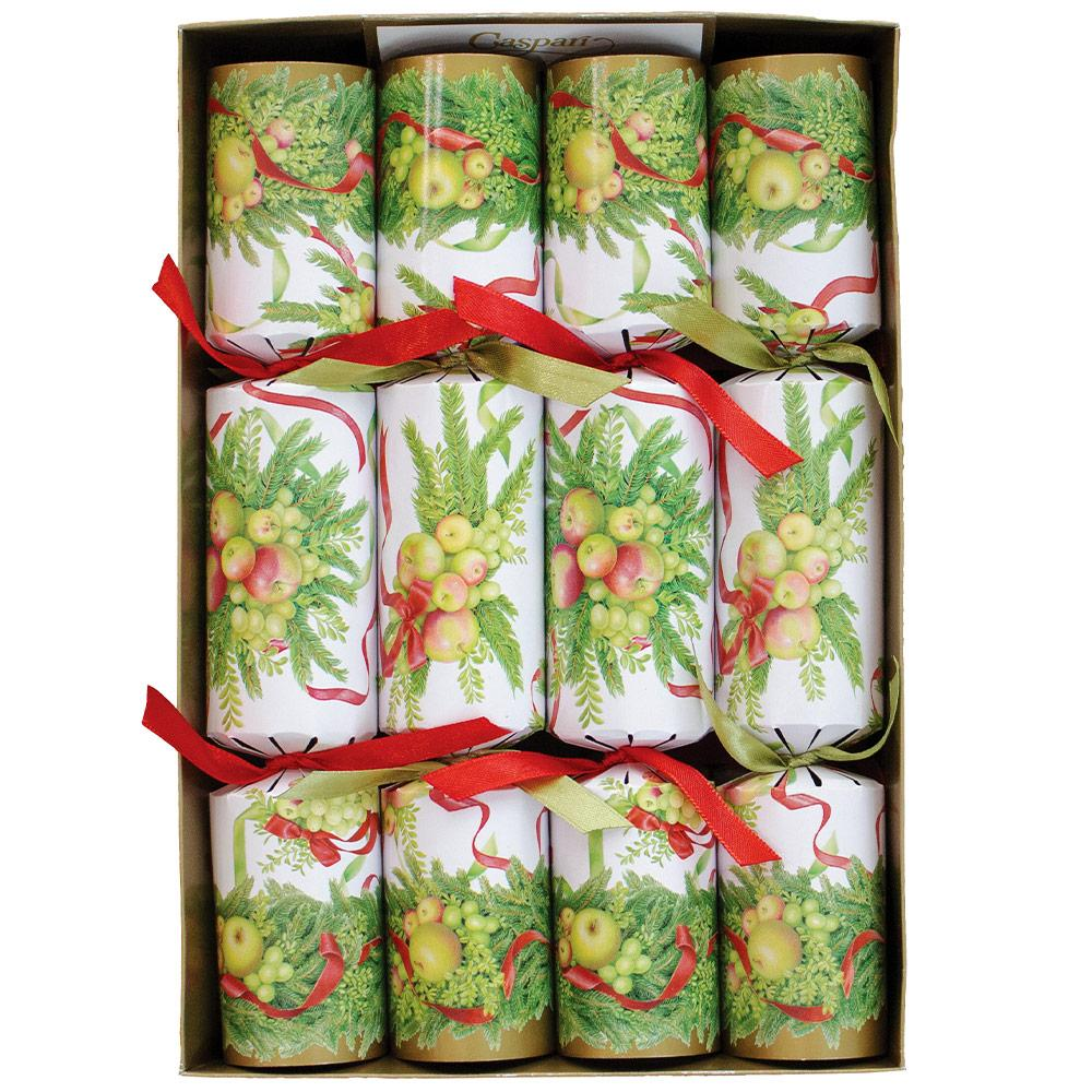 "Caspari ""Apples and Greenery"" Christmas Crackers 