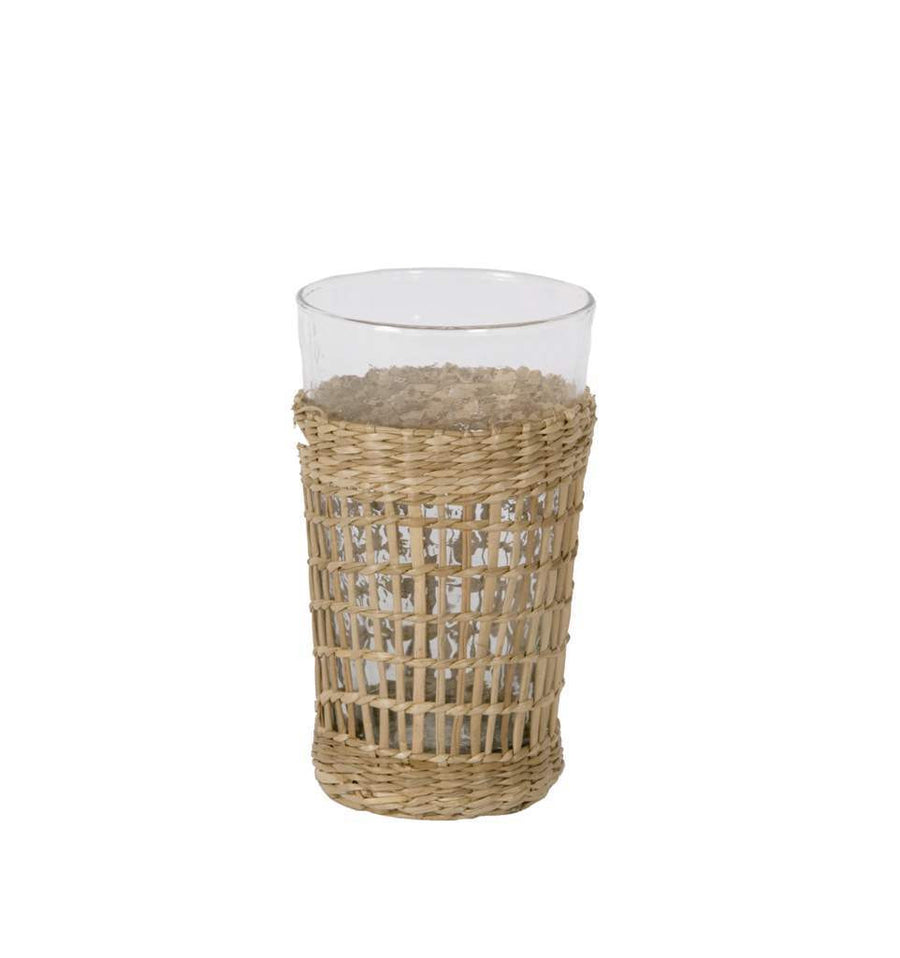 High Ball Glass with Wicker Sleave