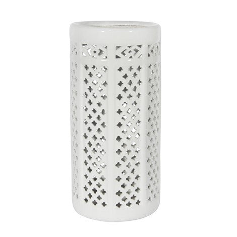 White Cutout Stoneware Umbrella Stand-Accessories-CF-Canfloyd-Putti Fine Furnishings