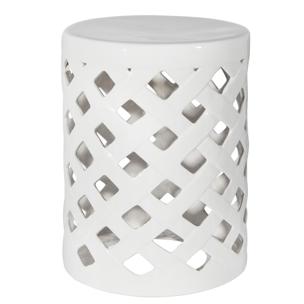 White Ceramic Cutout Stool-Accessories-CF-Canfloyd-Putti Fine Furnishings